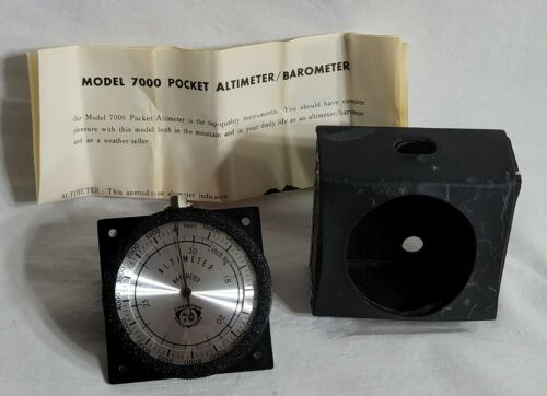Vintage Pocket Aneroid Altimeter / Barometer Champion 7000 + Case & Instructions
