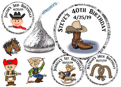 108 COUNTRY WESTERN COWBOY BIRTHDAY PARTY FAVORS HERSHEY KISS KISSES LABELS