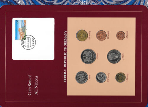 Coin sets of all nations Germany w/card 1987-1989 UNC 5,2 Mark 1988 1 Mark 1989