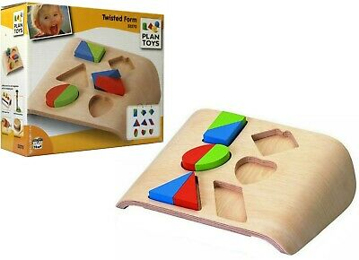 PLAN TOYS Twisted Form SHAPE SORTER Simple Complex EDUCATIONAL Toddler 2in1 Game