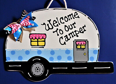 Art Welcome Sign -  Welcome To Our Camper SIGN Campsite Trailer Camp Cabin Camping Wood Art Plaque