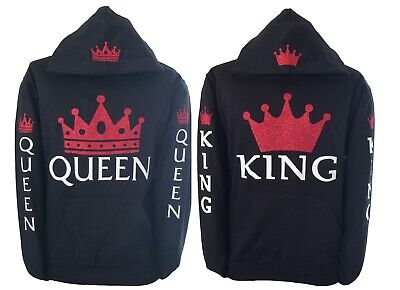 King & Queen hoodies for Couple Crown red Glitter hooded sweatshirt - King Crown For Kids