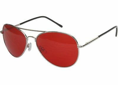 70's Glasses Red Tint Lens Aviator Sunglasses Pilot Classic Silver Metal Frame ](Red Glasses Frames)