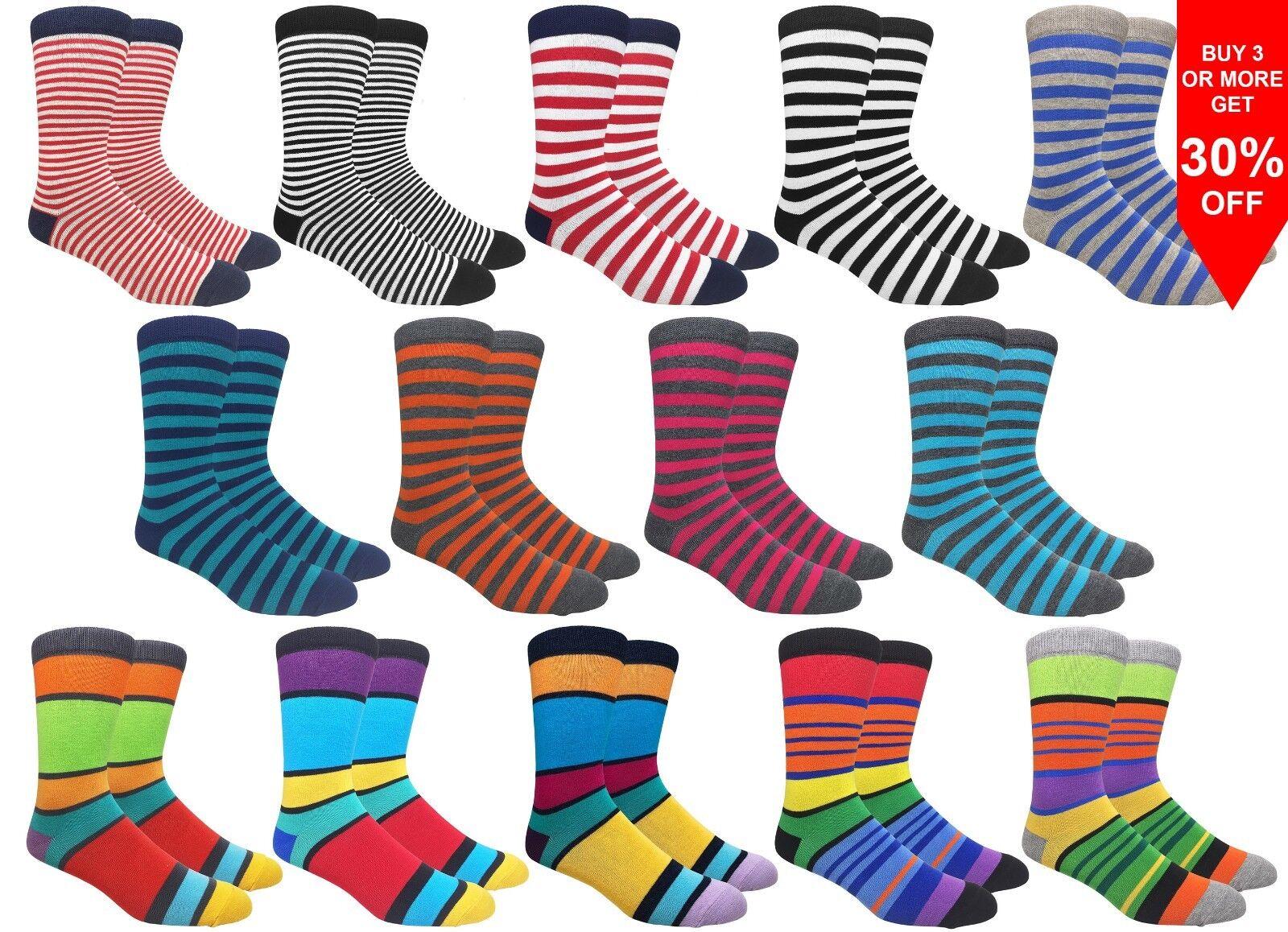 Fine Fit Men's Stripe Cotton Dress Socks Wedding Groom Assor