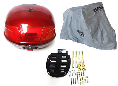 RED HARD CASE SCOOTER LUGGAGE BOX and SCOOTER / MOTORCYCLE COVER