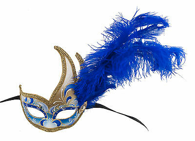 Mask from Venice Colombine IN Feathers Ostrich Blue-Mask Venetian - 1203 V78