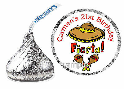 216 MEXICAN FIESTA BIRTHDAY PARTY FAVORS HERSHEY KISS KISSES LABELS - Fiesta Party Favors