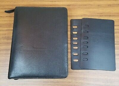 Vtg Franklin Covey Classic Leather Zip Planner Binder 7 Rings 1.5 Black Usa