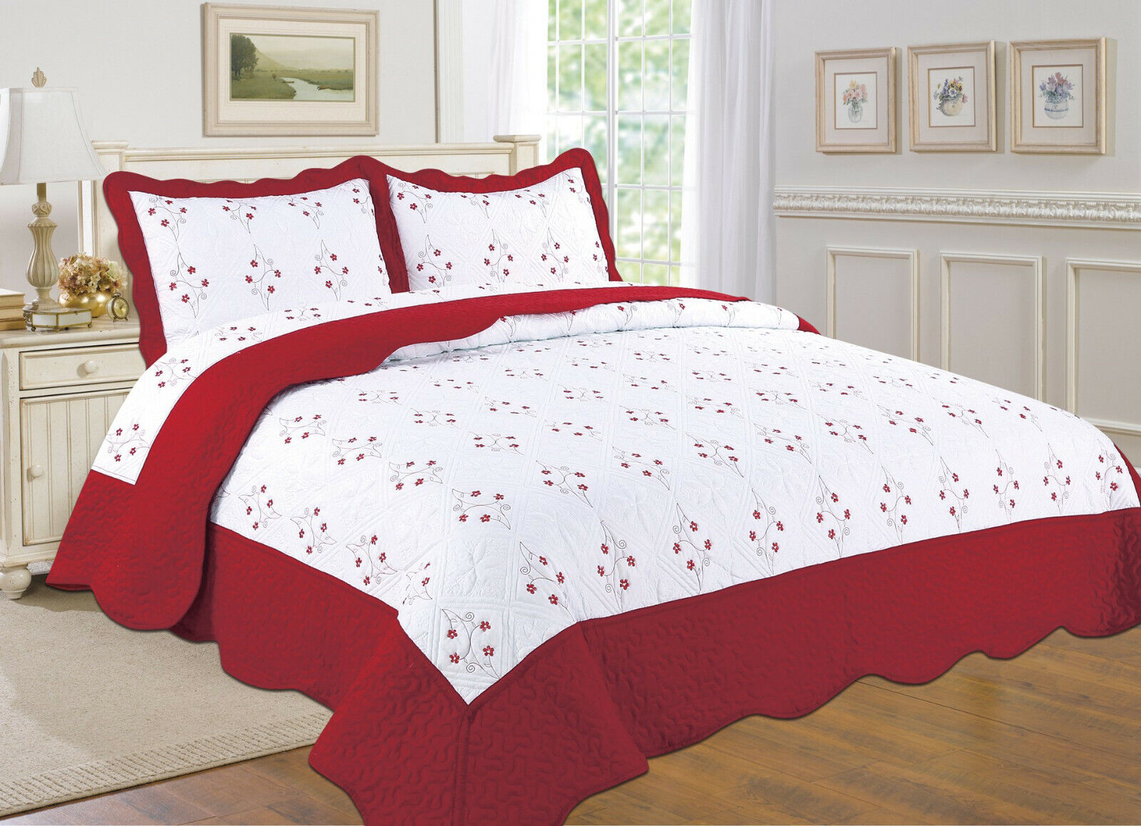 ALL FOR YOU Reversible Bedspread, Coverlet,Quilt *X* Red Chr