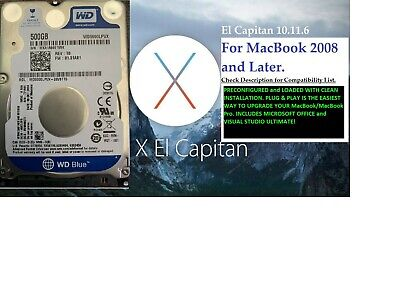 500GB HDD for MacBook 2008 and Later LOADED with El Capitan 10.11 AND MORE!