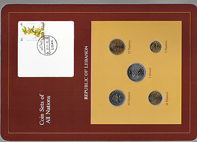 Coin Sets Of All Nations Lebanon 1975 1981 Unc 50 25 Piastres 1980 1 Pound 1981