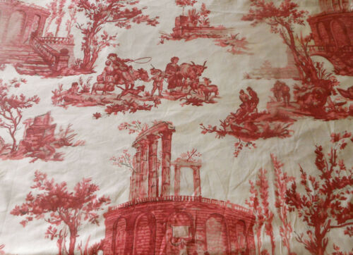 Antique French Pastoral Toile Cotton Fabric ~ Red Pink  ~ Paul Dumas 1930