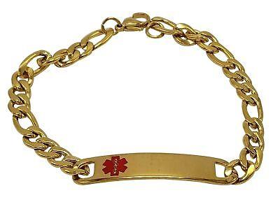 Type 2 Diabetes Medical Alert Engraved Stainless Steel Bracelet  8 Inch  Gold