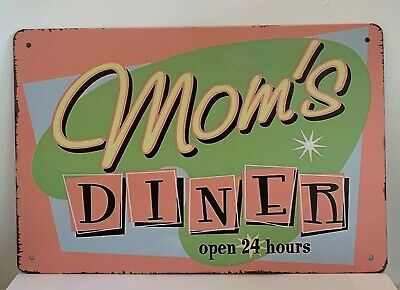 Tin Sign Mom's Diner Open 24 Hours Kitchen Quotes Retro Metal Wall Signs Plaques