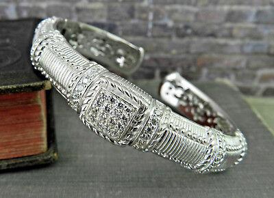 Judith Ripka Sterling Pave' Diamonique Textured Hinged Cuff Bracelet
