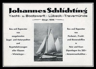 Grosse Reklame 1950 Yacht- u. Bootswerft (2) Werft Schlichting Lübeck Travemünde