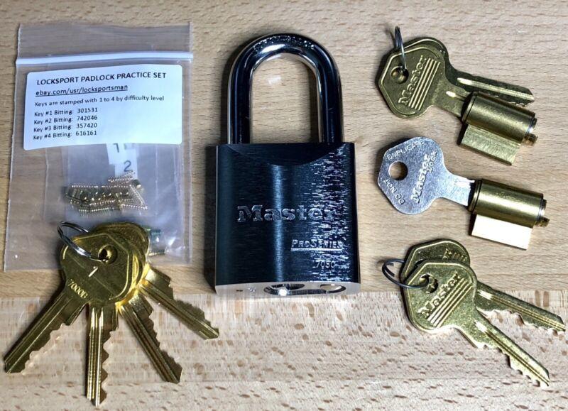 Locksport Padlock Practice Lot: Master Lock 7050 Pro, Extra Cores, Keys + Parts