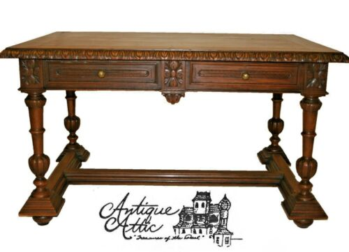 Antique French Walnut Partners Desk Bureauplat Library Table Sofa Henri II