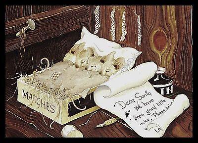 558-GC Priscilla Hillman MICE MOUSE Unused Vintage Christmas Greeting Card