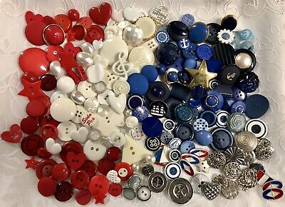 Vintage Buttons 184! Mixed Lot Reds Whites and Blues 🇺🇸 collect or craft