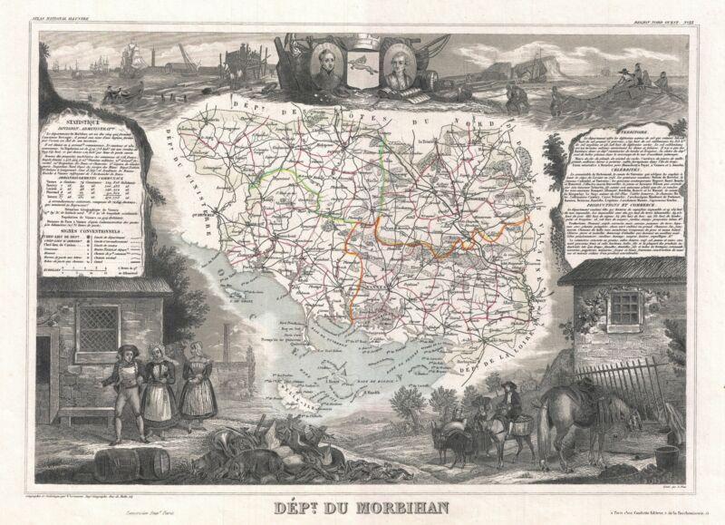 1852 Levasseur Map of the Department Du Morbihan, France