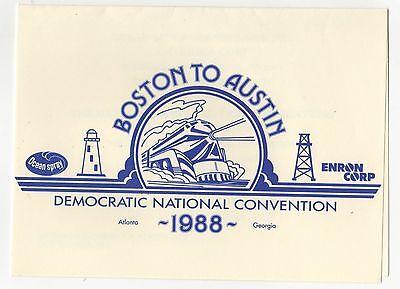 1988 DNC DEMOCRATIC NATIONAL CONVENTION Atlanta Georgia ENRON INVITATION Austin