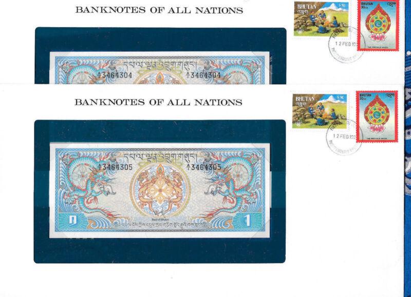 Banknotes of All Nations Bhutan 1981 1 Ngultrum P5 UNC Prefix A/1 2 Consecutive