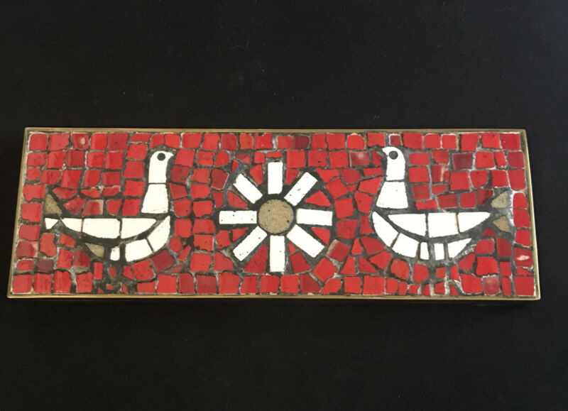 Beautiful Mid-Century Modern Box, Mosaic with 2 Birds & Sun