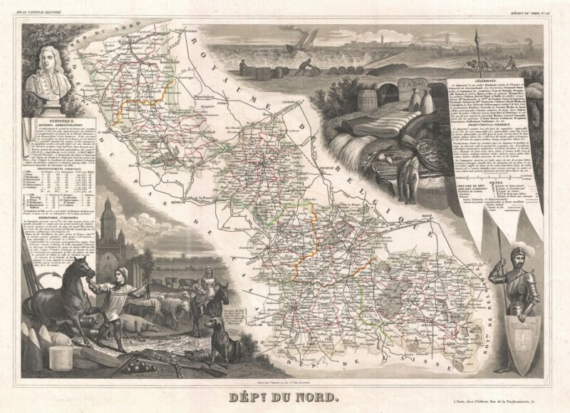 1852 Levasseur Map of the Department Du Nord, France