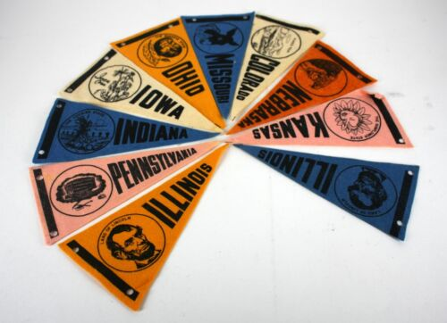 10 VINTAGE US STATE PENNANT FLAGS 8""