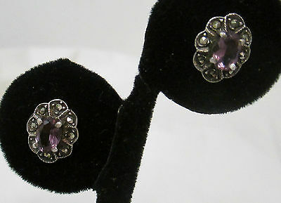 STERLING SILVER 925 PURPLE AMETHYST AND MARCASITE FLOWER STUD EARRINGS (Amethyst Flower Stud Earrings)