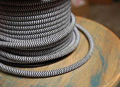 ZigZag Black/White Cloth Covered 3-Wire Round Cord, 18ga Vtg Chevron Lamp Lights
