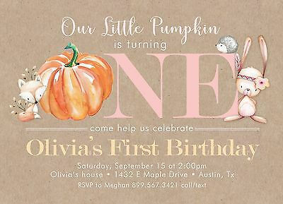 Little Pumpkin First Birthday Invitations- Personalized, Printed with Envelopes (Personalized First Birthday Invitations)