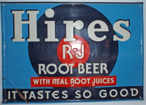 Vintage Hires Root Beer metal tin embossed advertising Vintage Sign