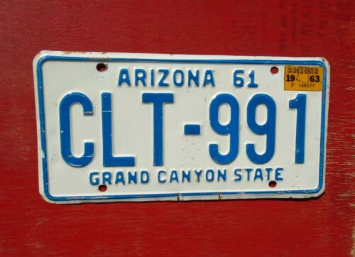 1963 Arizona Nice Original CLT-991 Grand Canyon License Plate