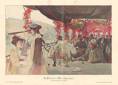 Riverboat On The Rhein, Wine Travel, Vintage 1894 German Antique Art Print
