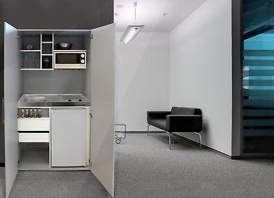Schrankküche Küche Miniküche Küchenzeile Büro Küchenblock Silber grau respekta