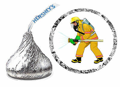 216 FIRE FIGHTER FIREMAN BIRTHDAY PARTY FAVORS HERSHEY KISS LABELS (Fireman Birthday Party)