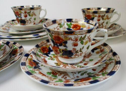 Doric English bone china tea cup dessert plate set w/ cake plates service for 4