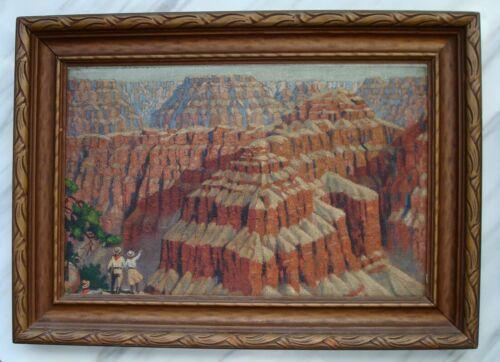 Antique Vtg GRAND CANYON Plein Air Arizona Landscape OIL PAINTING Impressionist