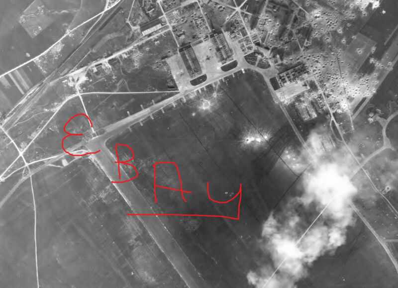 WWII HUGE 11X14 AERIAL RECON PHOTO 8TH USAAF BOMBING ORLEANS BRICY AIRFIELD