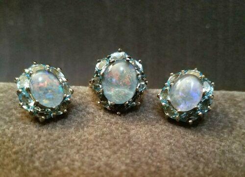 Vintage Sterling Silver Black Opal Triplet Blue Halo Setting Ring & Earrings