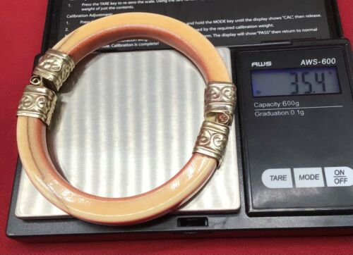 Vintage metal and natural off white Bangle Bracelet possibly silver handmade