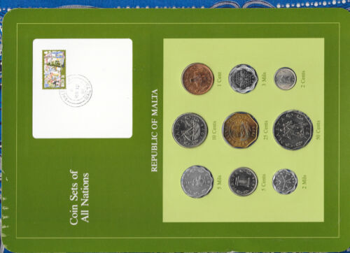 Coin Sets of All Nations Malta 1972 - 1982 2 & 3 Mils 1982 UNC 2 cent 1977