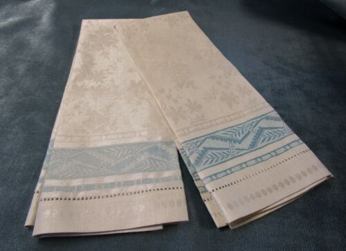 Antique 2 Linen Damask Towels Ivory w/ Blue Bands Flowers Ivy Ferns Never Used