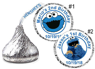 SESAME STREET COOKIE MONSTER BIRTHDAY PARTY FAVORS HERSHEY KISS KISSES LABELS - Sesame Street Cookies
