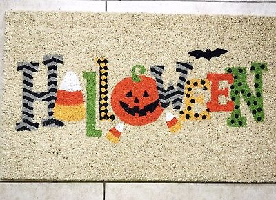 Pier 1 Door mat  Halloween Collection NEW!! Halloween with pumpkin & Bat