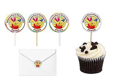 30 Winnie the Pooh 1st First Birthday Sticker Lollipop Label Party Favor 1.5 in