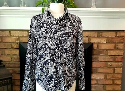 Chaps Ladies large paisley black white long sleeve button down collared shirt Ladies Black Chaps