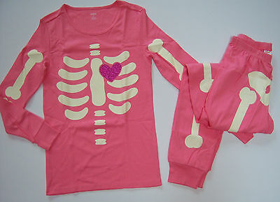 NWT Gymboree 2012 Halloween Pink Skeleton Glow in the Dark Womens Pajamas - Skeleton Pyjamas Adults